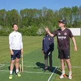Martijn Snoep flips the coin but Mark Jonkman calls right