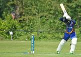 Ashan Bamunusinghe is bowled on a let stroke