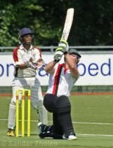 Jaron Morgan hits a straight six
