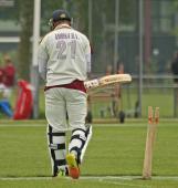 Tewarie is bowled by Saqib Zulfiqar