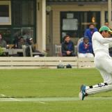 Hafeez comes down the track to drive