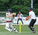 Davids skies the ball to mid on