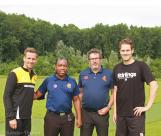 Umpires Mokorosi and Van den Dries and Captains Heggelman and Snoep at the toss