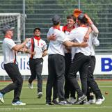 And bowler Wessel Coster is mobbed by his team mates
