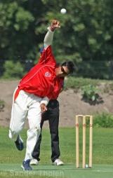 Arnav Jain bowling