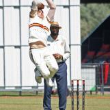 Fred Klaassen flying in to bowl