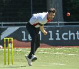 Berend Westdijk opening the bowling