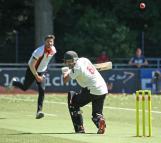 Westdijk tries a bouncer on Usman Isgfaq