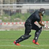Adil Ahmed goes for a quick silnle