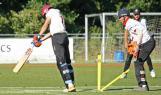 Hoornweg forgets his footwork and is bowled by Vink