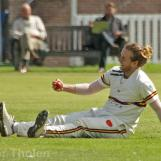 Max O'Dowd looks surprised that he held a fine slip catch to dismiss Ter Braak