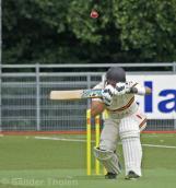 Dirk van Baren seeks cover from a bouncer