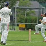 ... and bowler Ninan takes a good return catch