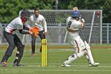 Umar Baker plays to leg...