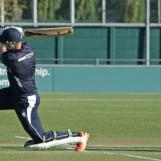 Jeroen Brand is bowled by Saqib