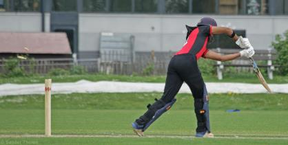 Vikram Singh plays a lazy shot and is bowled by Braat