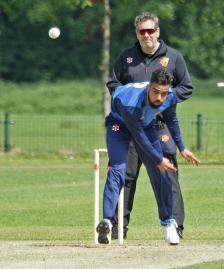 Navjit Singh bowling for the Seafarers