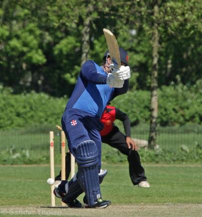 Stephan Myburgh drags the ball into his stumps