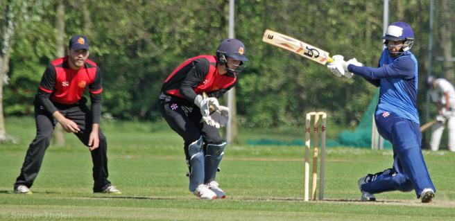 Musa Nadeem works the ball around the corner