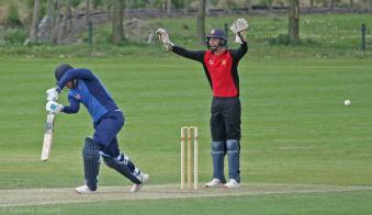 Gordon Wiffen is lbw and the match is over