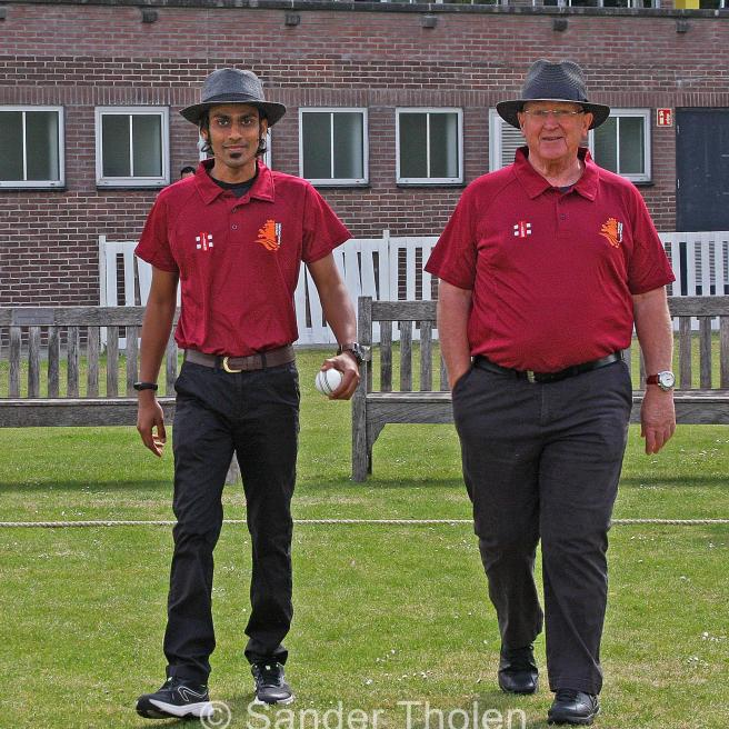 Umpires Nitin Bathi and Steve Tovey are ready to go