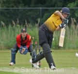 Roel Verhagen is bowled by Pierce Fletcher