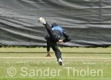 ...and is well caught by Tom Long at deep mid on