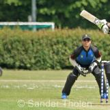 Sharn Gomes plays a hook shot