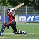Saqib is bowled by Jeroen Brand