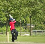 Ali Raza pulls the ball for four
