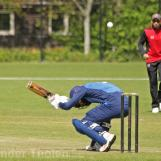 Musa Nadeem ducks under a Glover bouncer