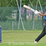 Vikram Singh helps the ball to the boundary
