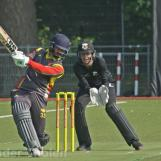 Anees Davids plays high over cover