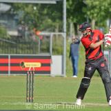 Pieter Seelaar edges into his stumps