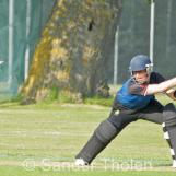 Lees makes too much room and is bowled by Gibson