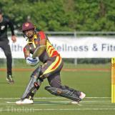 Arief Hoseinbaks plays to leg