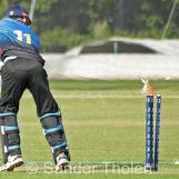 Graber is bowled by Westdijk