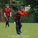 ...and Sebastiaan van Lent takes the catch