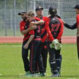 And here VOC celebrate his first wicket!