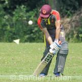 Rahil Ahmed digs out a yorker