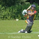 Anees Davids belts one through midwicket