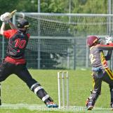 A good save by Rahil Ahmed
