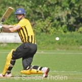 Douwe Walhain clips to leg for a boundary