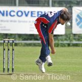 Brendan Glover opening the bowling for VCC
