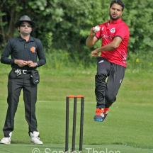 Mudassar Bukhari comes in to bowl