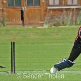 Shirase Rasool is bowled by Joost-Martijn Snoep