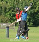 ...and Lees appeals in vain for a catch .