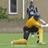 Boris Gorlee sweeps for a boundary