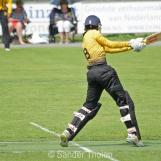 Sanjit Shankar belts his first ball for four