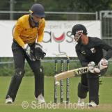 Navjit Singh plays the ball into his stumps